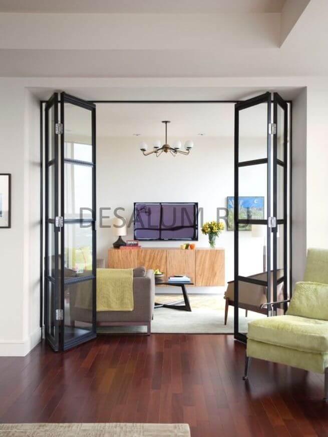 Складные межкомнатные двери гармошка desalum