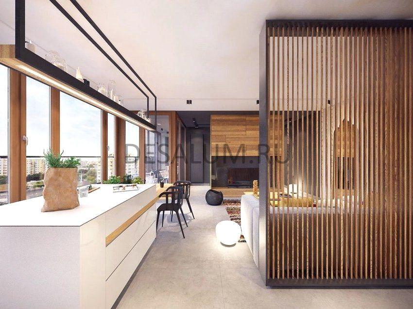 Деревянные перегородки для зонирования комнаты desalum