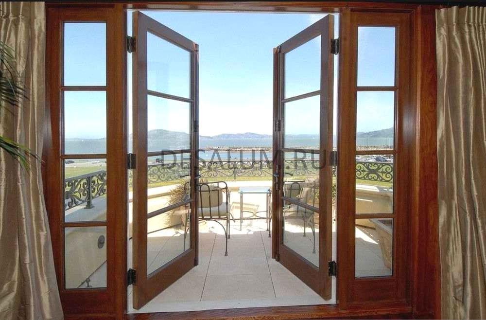 Стеклянные двери на веранду desalum